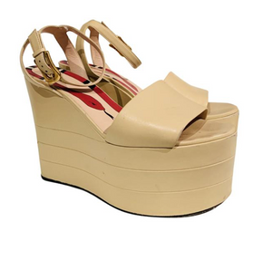 Gucci Tan Leather Sally Platform Wedges