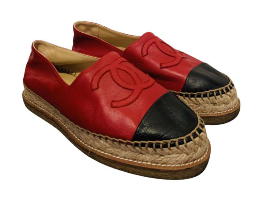 Chanel Red Lambskin Espadrilles 38