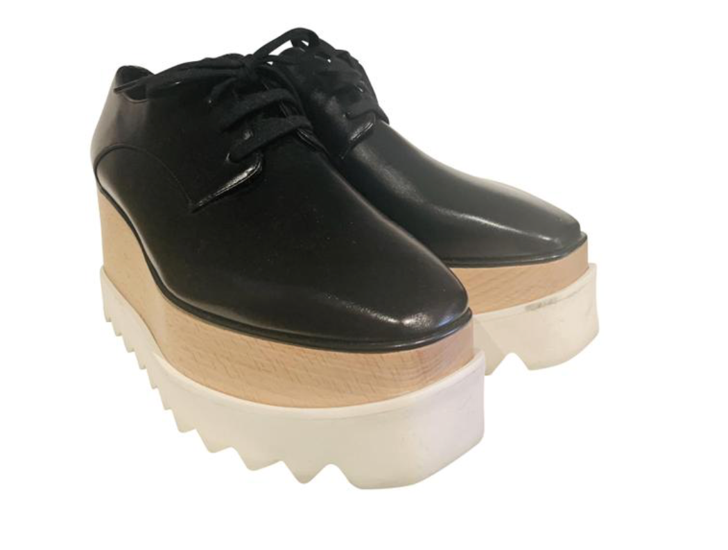 Stella McCartney Black Leather Platform Oxfords 37.5
