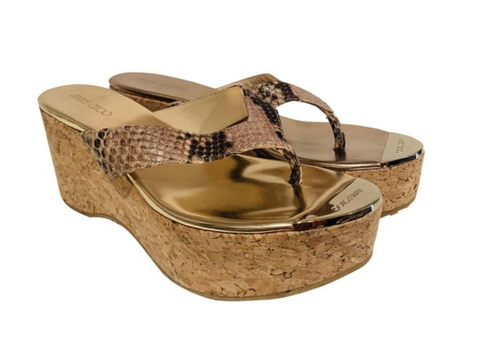 Jimmy Choo Snakeskin Wedge Thong Sandals 38