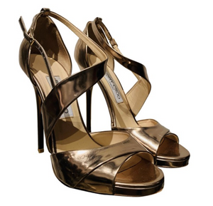 Jimmy Choo Gold Patent Leather Sandals 38