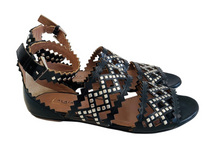 Load image into Gallery viewer, Alaïa Black Leather Studded Sandals Sz. 36.5