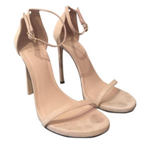 Load image into Gallery viewer, Stuart Weitzman Bisque Suede Nude Sandals Sz 39