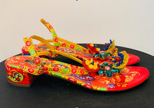 Load image into Gallery viewer, Dolce and Gabbana Multicolor Embellished T Strap Sandals 41