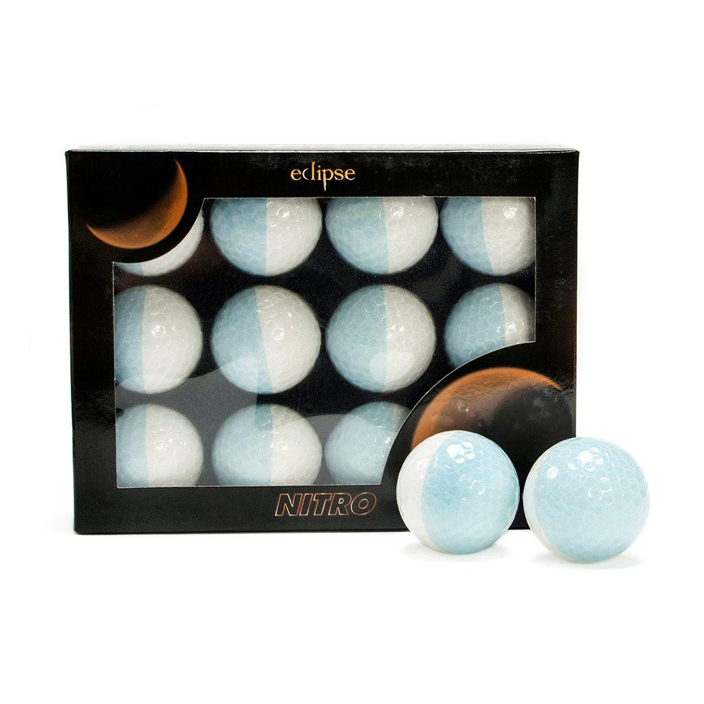 New Nitro Eclipse Golf Balls (White/Light Blue) - Golf Balls Direct