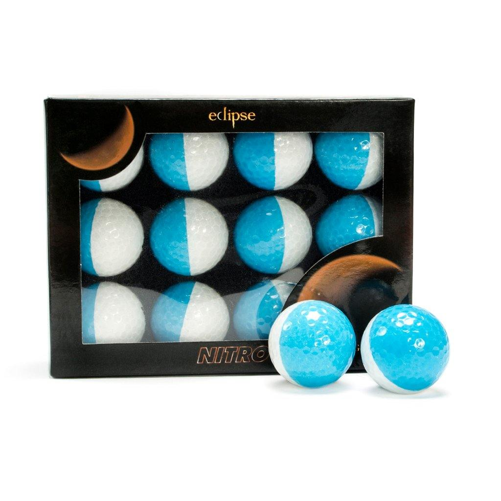 New Nitro Eclipse Golf Balls (White/Medium Blue) - Golf Balls Direct