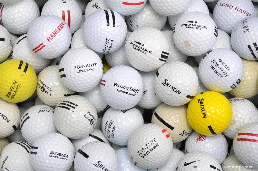 300 Grade 2 White and Yellow w/mixed color stripes golf balls - Golf Balls Direct