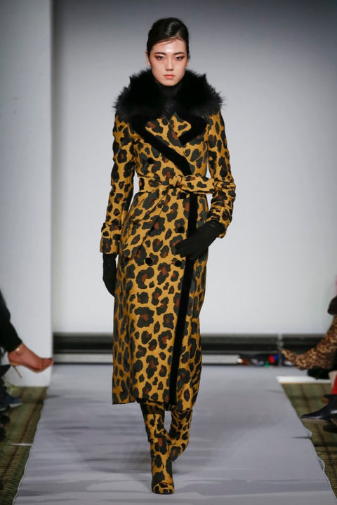 DYED LEOPARD PRINTED FABRIC WITH BLACK FOX 7/8 COAT