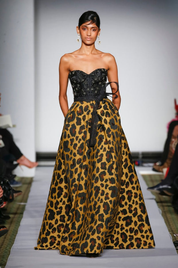 BLACK LEOPARD GOWN WITH EMBROIDERY
