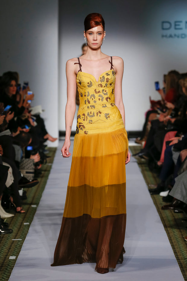 YELLOW TO BROWN PLEATED CHIFFON GOWN