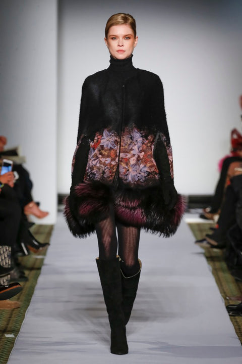 DYED BLACK WITH PURPLE JACQUARD WOOL FOX CAPE