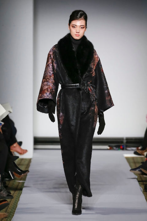 DYED FLORAL JACQUARD WOOL BLACK SABLE COAT