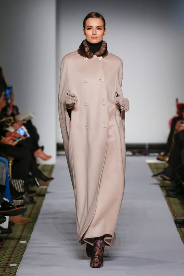 DYED BLUSH CASHMERE CAPE WITH ORYLAG