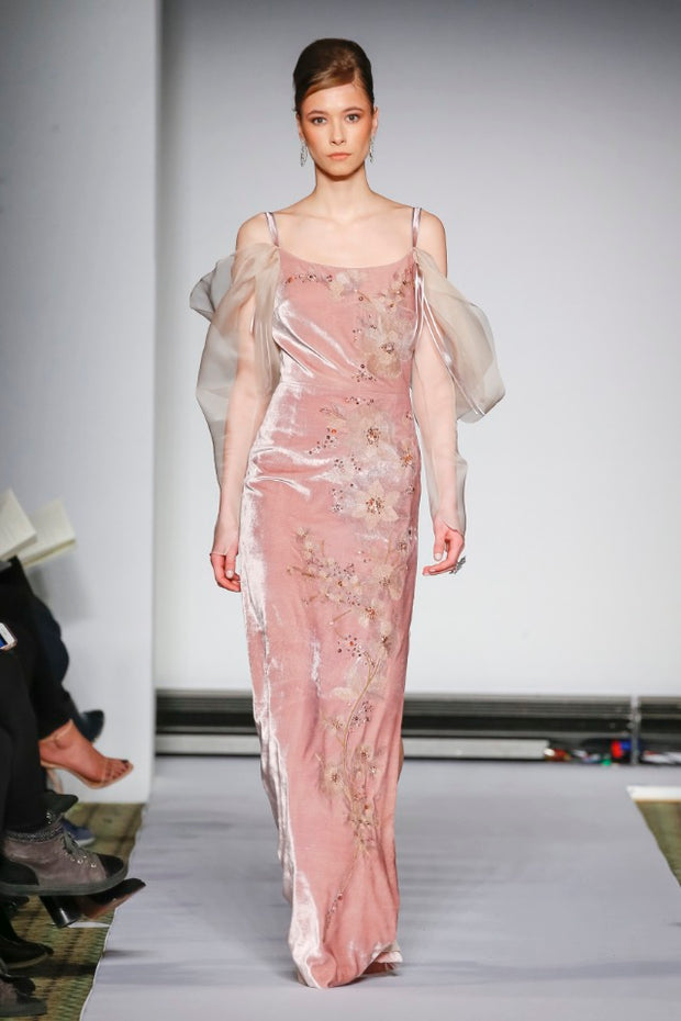 BLUSH VELVET EMBRODERED GOWN WITH SLEEVES