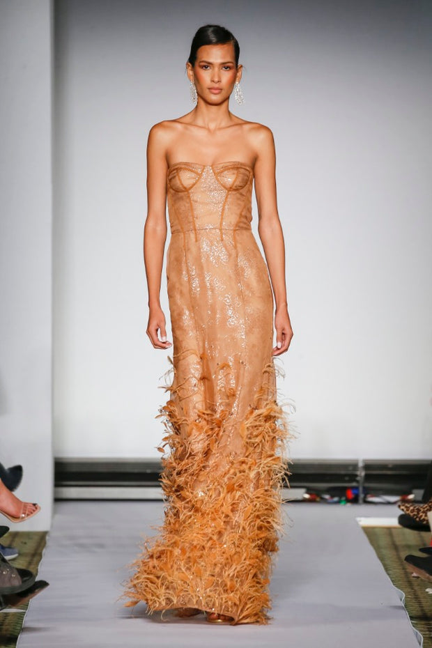 BEIGE EMBROIDERED FEATHER GOWN