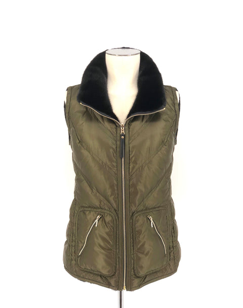 DYED BLACK AND GREEN MINK REVERSIBLE PUFFER VEST