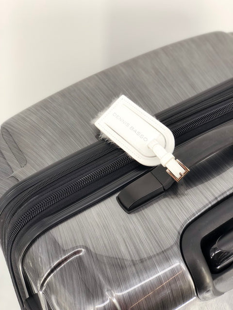 DYED WHITE LEATHER LUGGAGE TAG WITH MINK TRIM