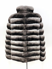 NATURAL CHINCHILLA REVERSIBLE PUFFER JACKET