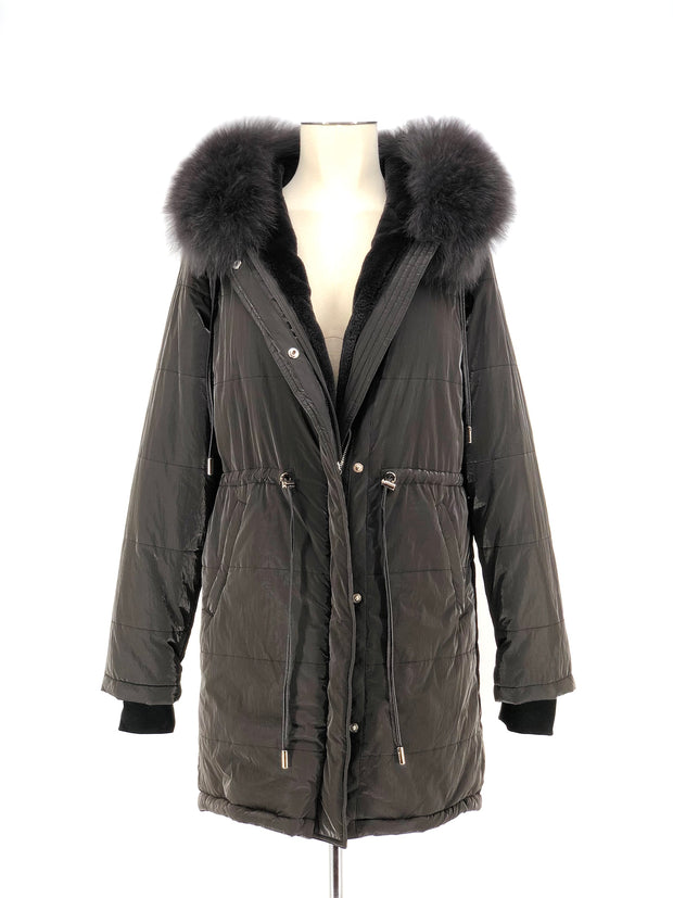 DYED GREY MINK WITH FOX TRIM PARKA