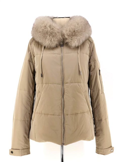 DYED BEIGE MINK WITH FOX TRIM PARKA