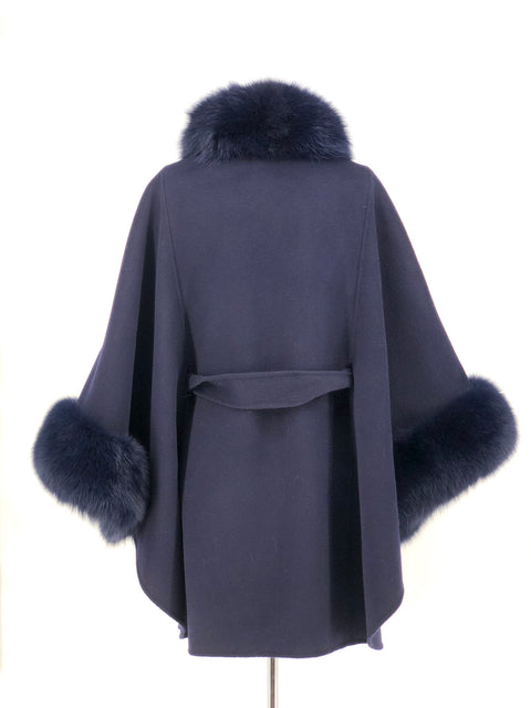 NAVY WOOL WITH FOX TRIM CAPE