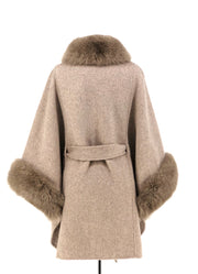 OATMEAL WOOL WITH FOX TRIM CAPE