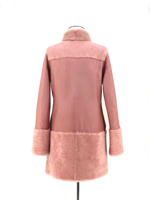 DYED PINK SHEARLING WITH MINK TRIM 7/8 COAT