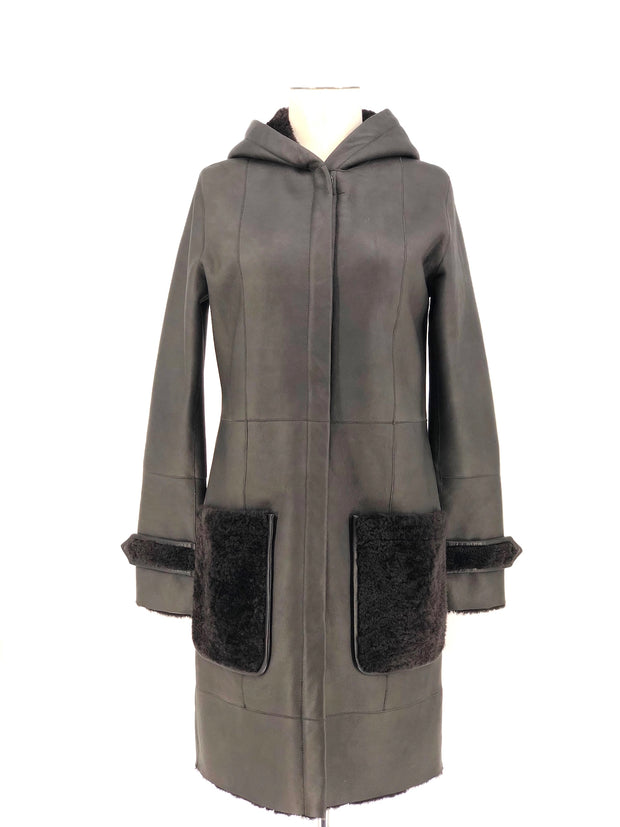 DYED CHARCOAL SHEARLING 7/8 COAT