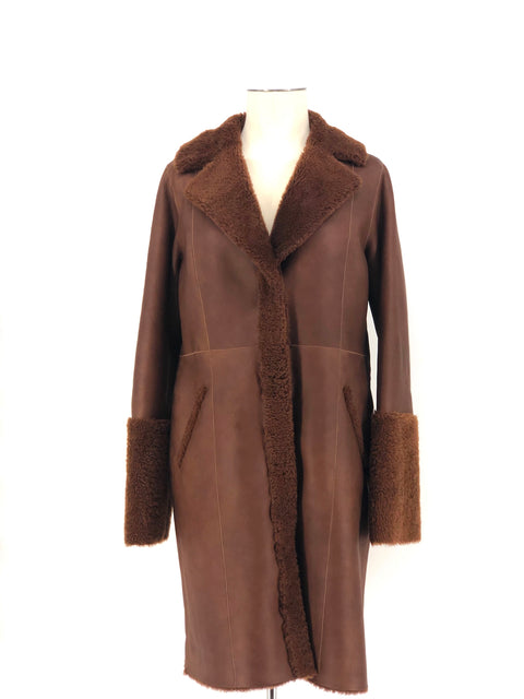 DYED CAMEL SHEARLING WITH MINK 7/8 COAT