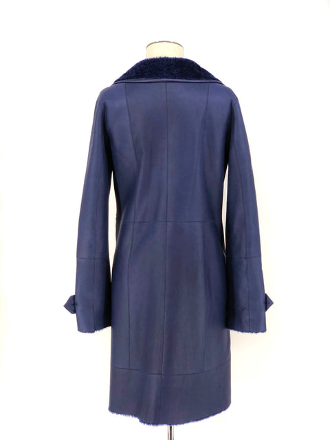DYED NAVY SHEARLING 7/8 COAT