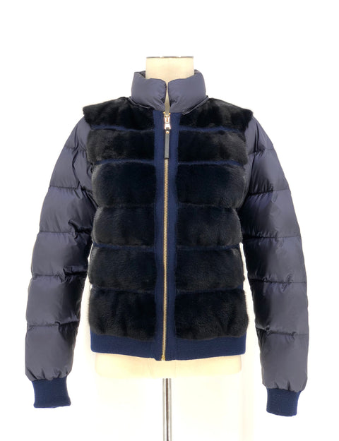 DYED NAVY MINK WITH FOX PUFFER JACKET