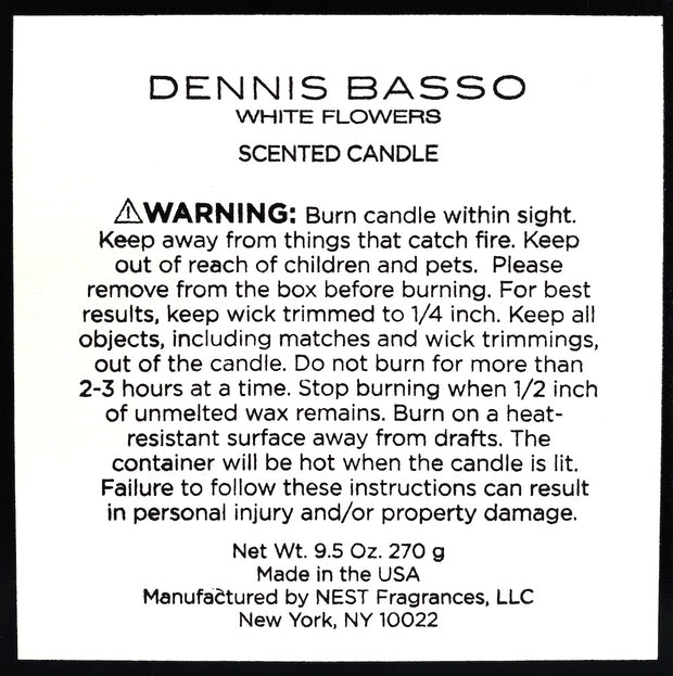 DENNIS BASSO WHITE FLOWERS SCENTED CANDLE