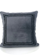 DYED CHARCOAL WITH BLACK BORDER SHEARED MINK PILLOW