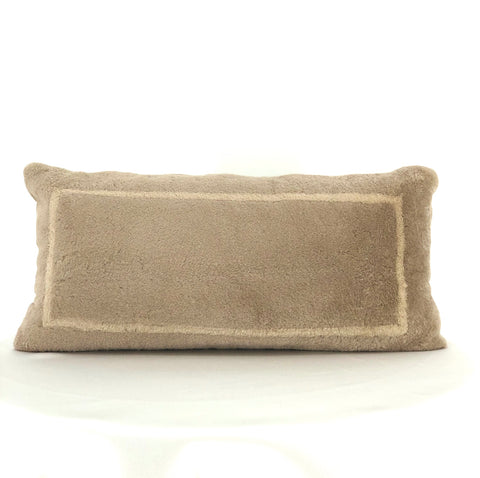 DYED BEIGE WITH TAN BORDER SHEARED MINK PILLOW