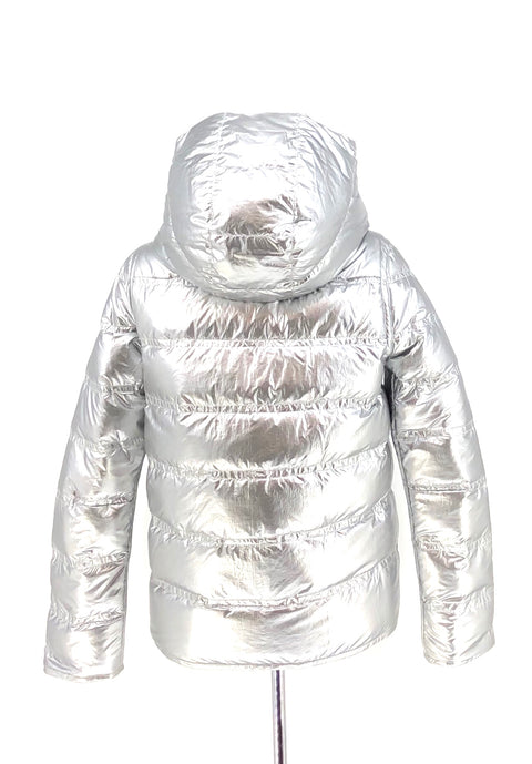 DYED WHITE MINK REVERSIBLE SILVER PUFFER JACKET