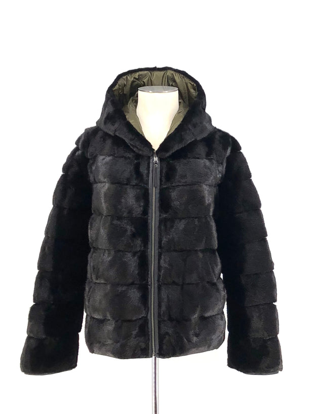 DYED BLACK MINK REVERSIBLE MOSS GREEN PUFFER JACKET