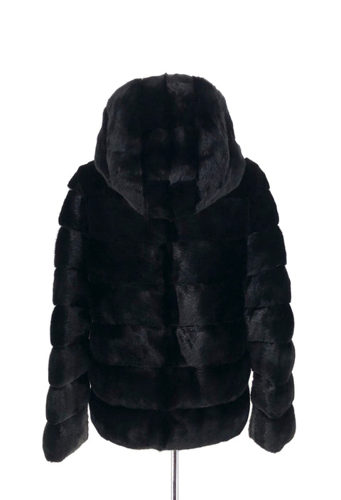 DYED BLACK MINK REVERSIBLE PUFFER JACKET