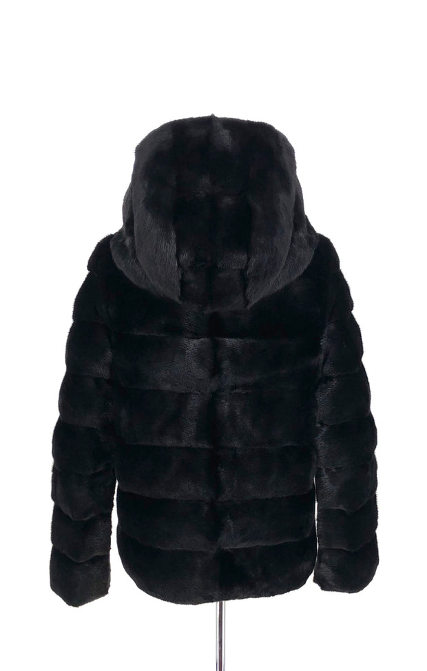 DYED BLACK MINK REVERSIBLE BROWN PUFFER JACKET