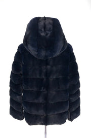 DYED NAVY MINK REVERSIBLE PUFFER JACKET