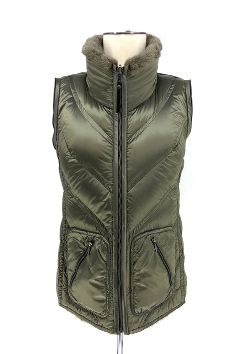 DYED MOSS GREEN MINK REVERSIBLE PUFFER JACKET WITH REMOVABLE SLEEVES