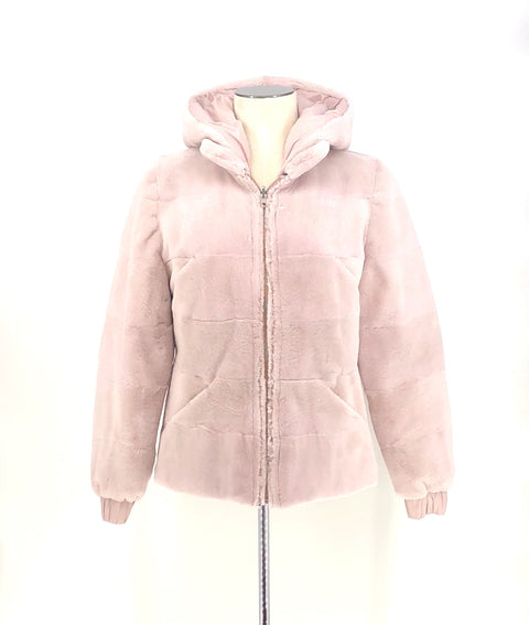 DYED BLUSH SHEARED MINK REVERSIBLE PUFFER JACKET WITH DETACHABLE HOOD