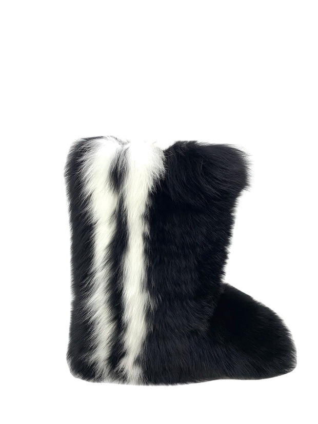 Dyed Black Fox with White Stripe Boots