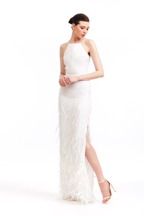 WHITE ORGANZA GOWN WITH FRINGE