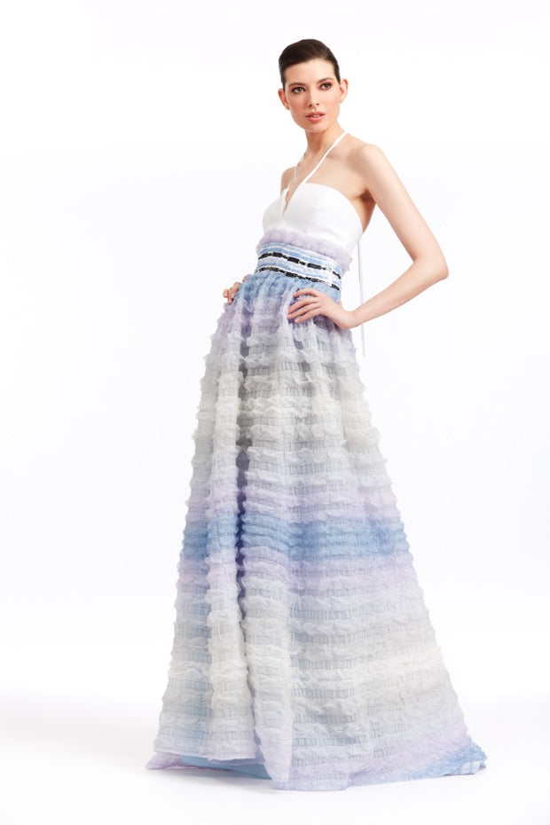 WHITE AND BLUE POUF-SKIRT GOWN