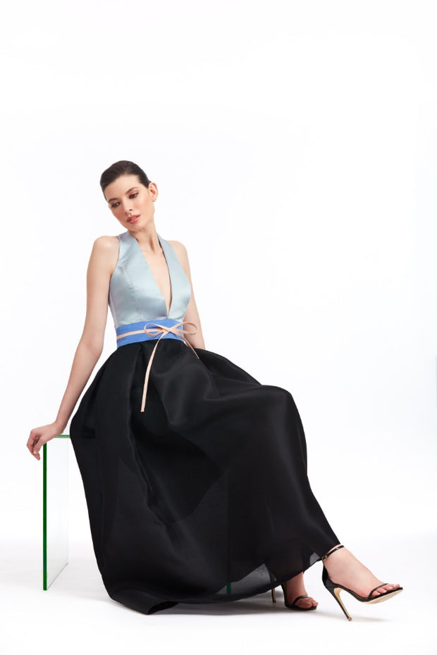 BLUE AND BLACK HALTER GOWN WITH PLEATED GAZAR SKIRT