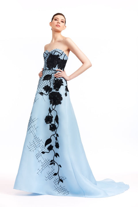 BLUE GAZAR WITH BLACK EMBROIDERY GOWN