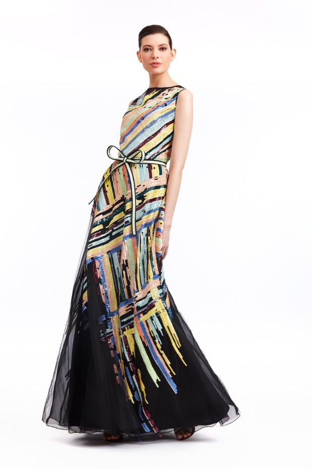 BLACK AND MULTI COLOR SLEEVELESS GOWN WITH STRIPED EMBROIDERY