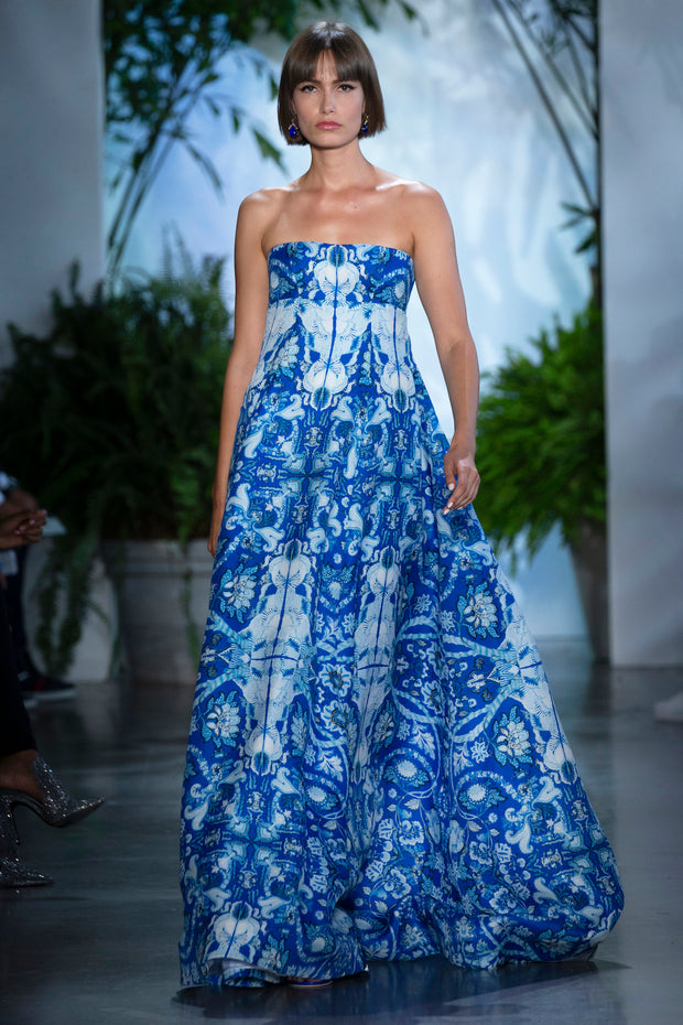 NAVY FLORAL SILK GAZAAR EMPIRE GOWN