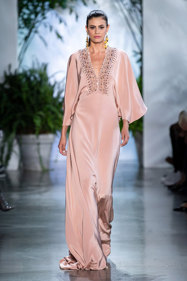 SILK CREPE CAPE GOWN WITH EMBROIDERY