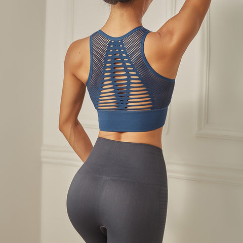 Back Cutout Seamless Sports Bra - Wearmeal